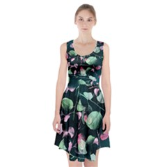 Modern Green and Pink Leaves Racerback Midi Dress