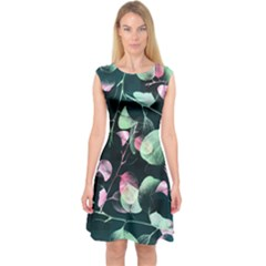Modern Green and Pink Leaves Capsleeve Midi Dress