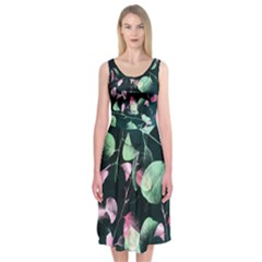 Modern Green and Pink Leaves Midi Sleeveless Dress
