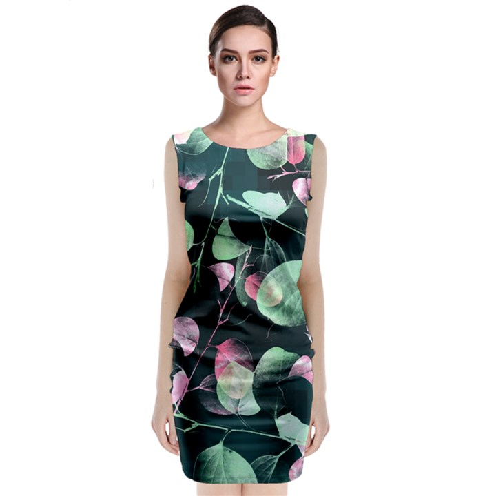 Modern Green and Pink Leaves Classic Sleeveless Midi Dress
