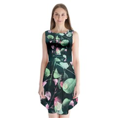 Modern Green and Pink Leaves Sleeveless Chiffon Dress
