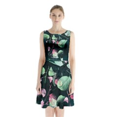 Modern Green and Pink Leaves Sleeveless Chiffon Waist Tie Dress