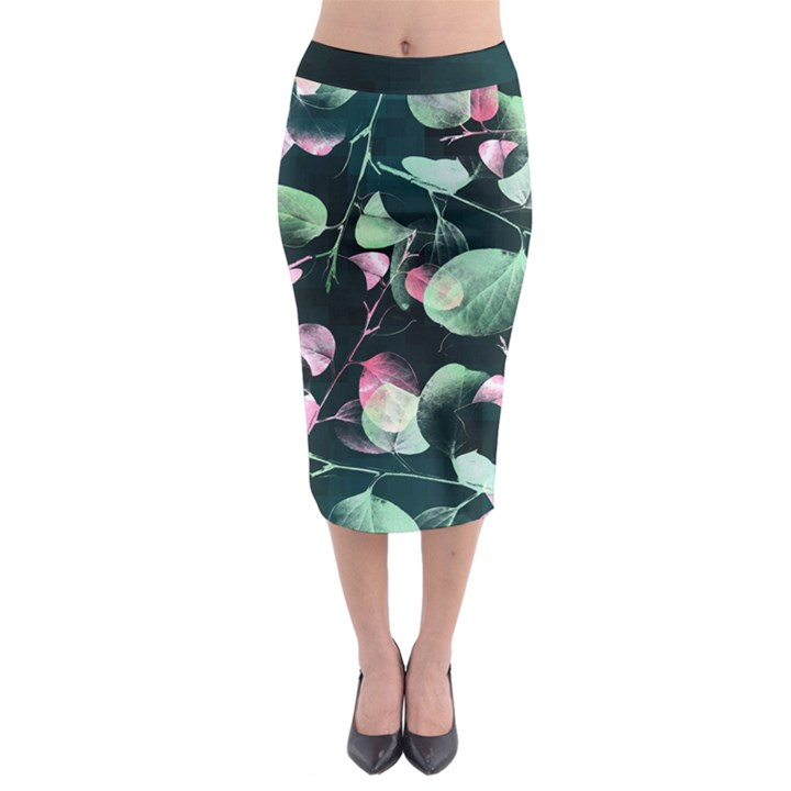 Modern Green and Pink Leaves Midi Pencil Skirt