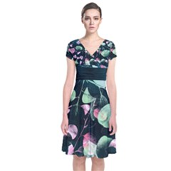 Modern Green and Pink Leaves Short Sleeve Front Wrap Dress