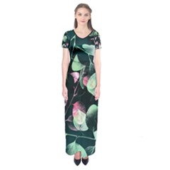 Modern Green And Pink Leaves Short Sleeve Maxi Dress