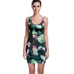 Modern Green and Pink Leaves Bodycon Dress