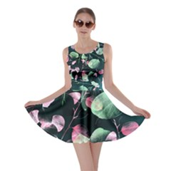 Modern Green And Pink Leaves Skater Dress