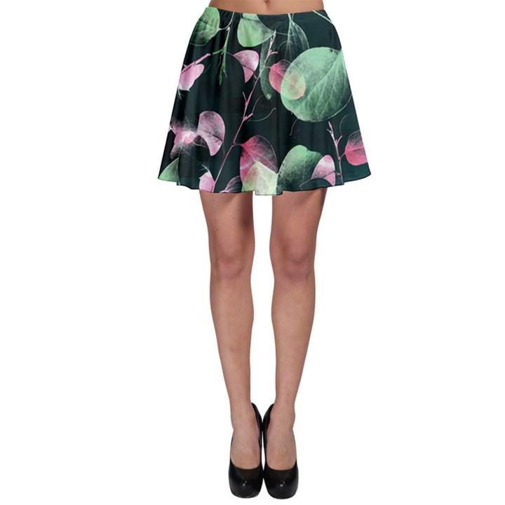 Modern Green and Pink Leaves Skater Skirt