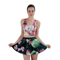 Modern Green and Pink Leaves Mini Skirt
