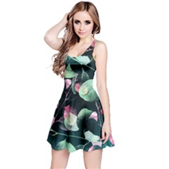 Modern Green And Pink Leaves Reversible Sleeveless Dress