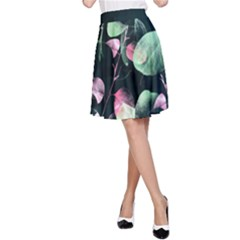 Modern Green and Pink Leaves A-Line Skirt