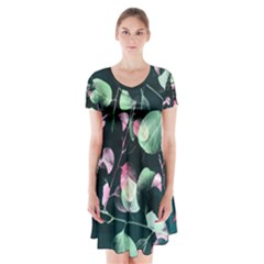 Modern Green and Pink Leaves Short Sleeve V-neck Flare Dress