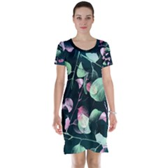 Modern Green And Pink Leaves Short Sleeve Nightdress