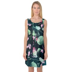 Modern Green And Pink Leaves Sleeveless Satin Nightdress