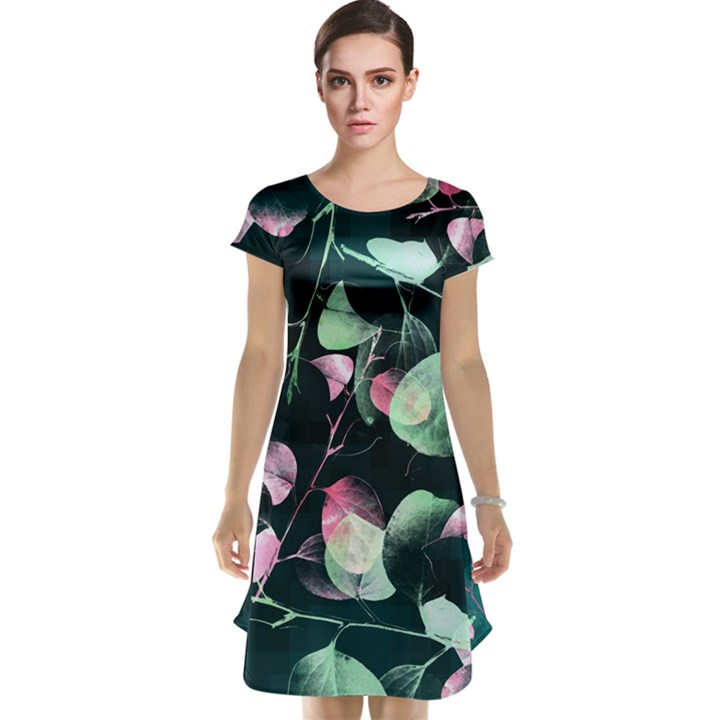 Modern Green and Pink Leaves Cap Sleeve Nightdress