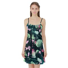 Modern Green and Pink Leaves Satin Night Slip