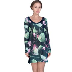 Modern Green and Pink Leaves Long Sleeve Nightdress