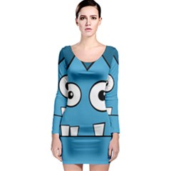 Halloween Frankenstein - Blue Long Sleeve Bodycon Dress