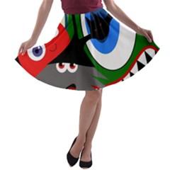 Halloween monsters A-line Skater Skirt