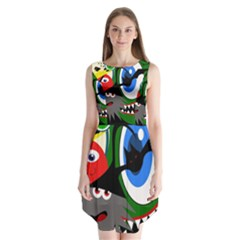 Halloween monsters Sleeveless Chiffon Dress