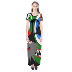 Halloween monsters Short Sleeve Maxi Dress