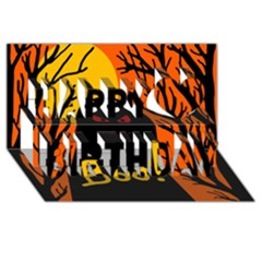 Halloween monster Happy Birthday 3D Greeting Card (8x4)