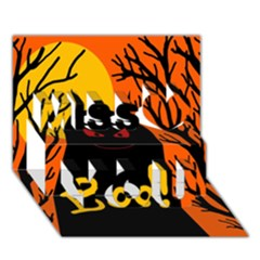 Halloween monster Miss You 3D Greeting Card (7x5)