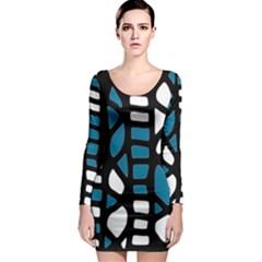 Blue decor Long Sleeve Bodycon Dress
