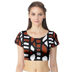 Red Decor Short Sleeve Crop Top (tight Fit)