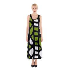 Green Decor Sleeveless Maxi Dress