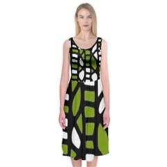 Green decor Midi Sleeveless Dress
