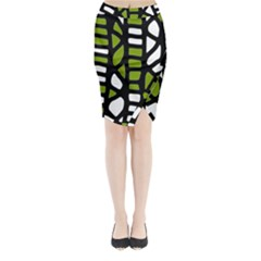 Green decor Midi Wrap Pencil Skirt