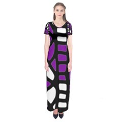 Purple decor Short Sleeve Maxi Dress