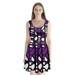 Purple decor Split Back Mini Dress