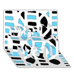 Light Blue Decor Miss You 3d Greeting Card (7x5)
