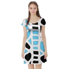 Light blue decor Short Sleeve Skater Dress