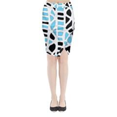 Light Blue Decor Midi Wrap Pencil Skirt