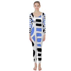 Blue decor Long Sleeve Catsuit