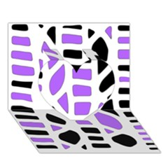 Purple abstract decor Heart 3D Greeting Card (7x5)