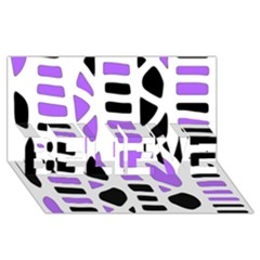 Purple abstract decor BELIEVE 3D Greeting Card (8x4)