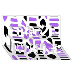 Purple abstract decor Best Wish 3D Greeting Card (8x4)