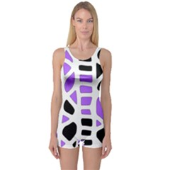 Purple abstract decor One Piece Boyleg Swimsuit