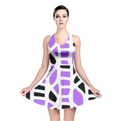 Purple abstract decor Reversible Skater Dress