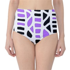 Purple abstract decor High-Waist Bikini Bottoms
