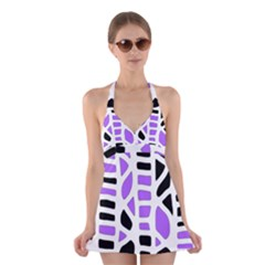 Purple abstract decor Halter Swimsuit Dress