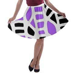 Purple abstract decor A-line Skater Skirt