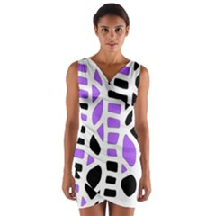 Purple Abstract Decor Wrap Front Bodycon Dress