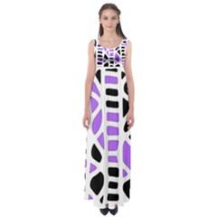 Purple abstract decor Empire Waist Maxi Dress
