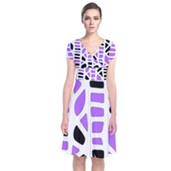 Purple abstract decor Short Sleeve Front Wrap Dress