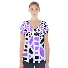Purple abstract decor Short Sleeve Front Detail Top